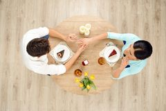 Top view of table and marriage proposal Royalty Free Stock Photography