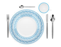 Top view of table setting with cup isolated on white. Background vector illustration