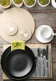 Top view of table setting for dinner in cafe Stock Photography