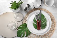 Top view of table setting for dinner in cafe Royalty Free Stock Photos