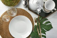 Top view of table setting for dinner in cafe Royalty Free Stock Images