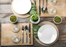 Top view of table setting for dinner in cafe Stock Images