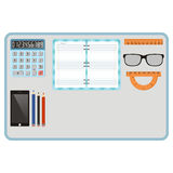 Top view of table with supplies for education or work. School, w royalty free illustration