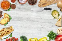 Top view of table top with fresh ingredients. For a healthy meal stock images