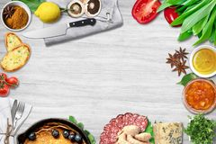 Top view of table top with fresh ingredients. For a healthy meal royalty free stock photography