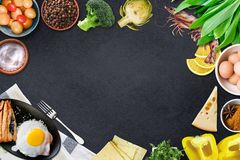 Top view of table top with fresh ingredients. For a healthy meal stock image