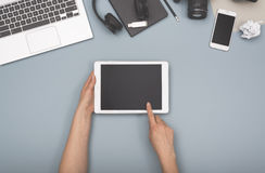 Top view tablet and laptop hero header Stock Photo