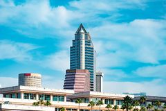 Top view of Tampa Convention Center and downtown buildings. stock image