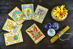 Top view with the tarot cards, candles and crystals Royalty Free Stock Photography