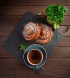 Top view of tasty breakfast. Homemade sweet cream roll Royalty Free Stock Image