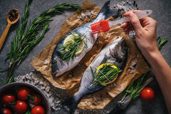 Top view of tasty dorado fish with vegetables and spices Royalty Free Stock Photography