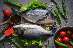 Top view of tasty dorado fish with vegetables and spices. Raw dorado fish and ingredients for cooking on rustic wooden board and black background, top view Royalty Free Stock Image