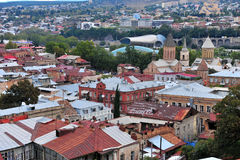 Top view of Tbilisi city centre Royalty Free Stock Photos