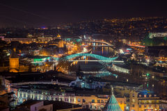 Top view of the Tbilisi at night Royalty Free Stock Image