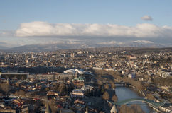 The top view of Tbilisi in winter time. TBILISI, GEORGIA - February, 2017: The top view of Tbilisi; The capital of Georgia Stock Images