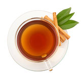 Top view of tea with cinnamon Stock Photo