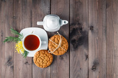 Top view of tea cup with sweet cookie Stock Images