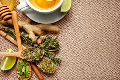 Top view of tea herbs, raw ginger and lime. On the table Stock Photography