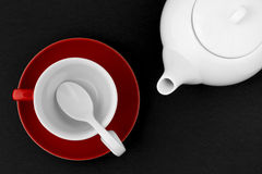 Top view of the tea pot and tea cup Stock Images