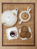 Top view of a tea set Stock Photos