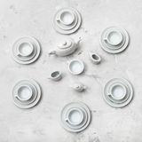 Top view of tea set on concrete board Stock Photography