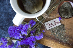 Top view tea time tag Royalty Free Stock Images