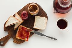 Toasts with jam and peanut butter Royalty Free Stock Photo