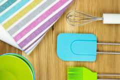 Top-view of tea towel and kitchen utensils Stock Photo