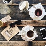 Top View of Tea on Wooden Table Royalty Free Stock Image