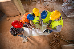 Top view of team on building construction Stock Image