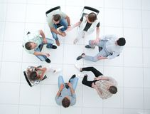 Top view. a team of successful young employees. Business concept stock image
