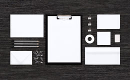 Top view of template mockup for branding identity on black table Royalty Free Stock Photos