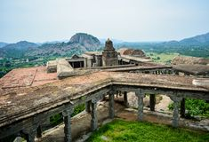 Top view of a temple on Gingee Fort in Tamil Nadu stock image