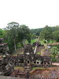 Top view of temple ruins of Angkor Wat stock images