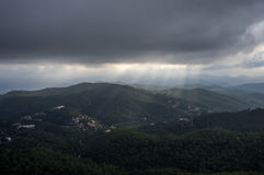 Top view from the Temple of the Sacred Heart of Jesus on the Tibidabo hill Stock Photos