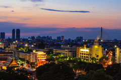 Top View of Temple among Village of Bangkok City , Thailand Royalty Free Stock Photography