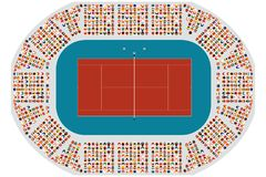 Top view of a tennis arena. Top view of a clay tennis arena vector illustration
