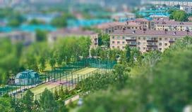 Top view of a tennis court Stock Photos