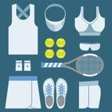 Top View Tennis Women's Gears. Stock Photo