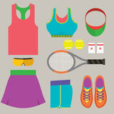 Top View Tennis Women's Gears. Royalty Free Stock Photos