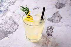 Top view tequila, lemon, rosemary fizz. Alcoholic drink in glasses with fresh herbs on a gray background, selective. Focus. Gin tonic cocktail copy space Royalty Free Stock Image