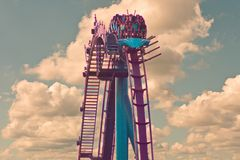 Top view of terrific rollercoaster on lightblue colorful background in International Drive area stock photos