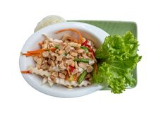 Top view of Thai coconut shoots salad somtum isolated with c. Top view of Thai coconut shoots salad somtum isolated on white background with clipping path royalty free stock photos