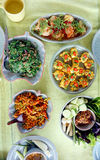 Top view of Thai cuisine dishes, famous international food Stock Images