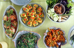 Top view of Thai cuisine dishes, famous international food Stock Image