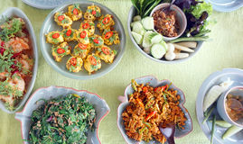 Top view of Thai cuisine dishes, famous international food Royalty Free Stock Photos