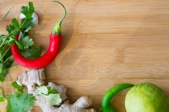 Top View Thai Curry Ingredients on Wooden Board. Top View of Thai Curry Ingredients on Wooden Board Stock Photography