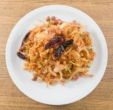 Top View of Thai Fermented Pork Salad with Crispy Rice Royalty Free Stock Photos