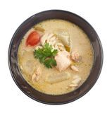 Top view of Thai food - chicken and galangal in coconut milk sou Royalty Free Stock Photography