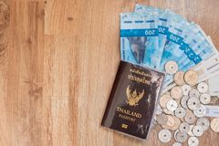 Top view of Thailand passport with currency coins with cash of n. Ok in norway royalty free stock images